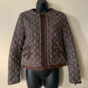 Zara Brown Quilted Tweed Bomber Jacket Medium